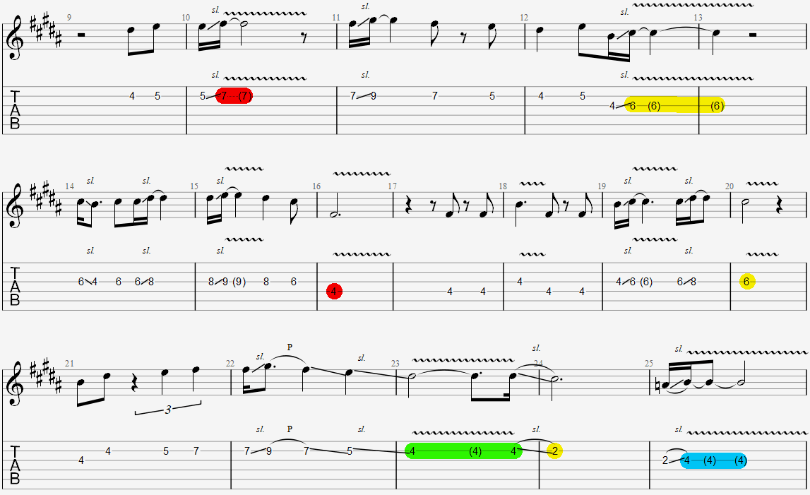 A section melody with held notes