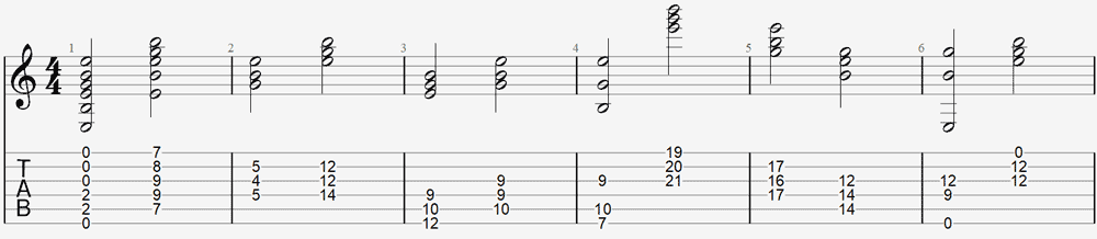 E minor chord shapes
